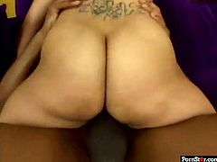 This smoking hot chick with huge tits needs a passionate, break-the-couch type of fucking. Sex-starved bombshell rides her lover's pecker in cowgirl position making her fat ass bounce up and down. Then she gets into sideways positions to let her lover fuck her tight pussy hard.