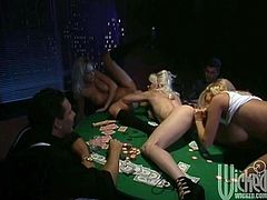 Talk about going bust! These girls lose it all playing poker and end up paying their debt by having a wild lesbian threesome on top of the table.