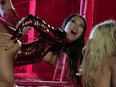 Hot hardcore babes Jessica Drake and Asa Akira wearing latex outfit. They love sharing huge dicks as they sloppily suck them and riding them with extreme pleasure.