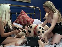 Are you into crazy lesbians? Two blondes use a girl and play with electricity. The blonde girls seems to enjoy the attached electrodes and the vibrator inserted into her shaved pussy. See her round ass getting fucked while laying comfortable on the bed. Click for more details