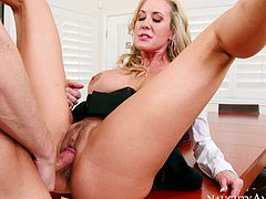 Naughty office slut Brandi Love gets fucked hard by Ryan Mclane