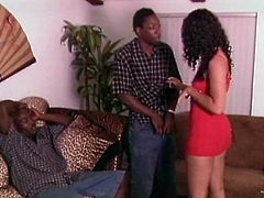 Sexy brunette chick is trying her best to please two black studs. She sucks and rubs their BBCs and then lets the dudes pound her coochie in missionary position.