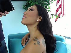 Asa Akira was making her pussy wet and her asshole friendly for Danny Wyldes dick