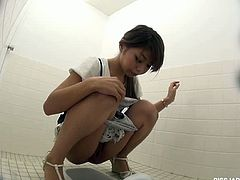 Stupid perverts installing hidden camera in a public restroom. Watch how lucky they are capturing innocent babes closeup look into their teen pussies and pissing.