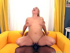 This mature babe couldn't help herself. She invited this black guy back to her place, gave him head then took every inch of his big cock.
