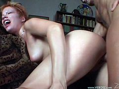 Short haired redhead gets her pink gash fucked hard