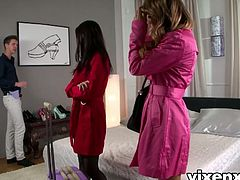 Vixen X brings you a hell of a free porn video where you can see how the alluring brunette slut Leyla Black and Marica Hase share a rod of meat while assuming very hot poses.