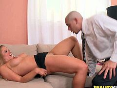 This big breasted nympho always gets what she wants. She spreads her legs wide and lets her horny lover get a taste of her delicious pussy. Horny dude licks her cunt passionately like a true pussy eater. Then he fucks her twat in missionary position.