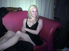 Lewd blonde Tiffany Summers gets picked up by some dude in a club. She gives a deepthroat blowjob to the dude and then stands on all fours and gets her cunt pounded doggy style.