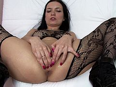 Brunette milf in superb black stockings amazes in raw solo masturbation porn adventure