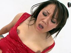 Horny Asian chick Tina Lee shows her cock-sucking skills to two dudes. Then the studs fuck Tina's shaved cunt by turns and she moans loudly with pleasure.
