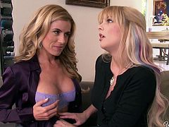 Well shaped and big breasted babes Jana Jordan and Randy Moore get horny and start making out and undressing each other.