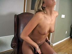 Cute blonde Tiffany Rayne slams her shaved pussy with a dildo. Then she spreads her legs wide open and lets her man pound her slit in the missionary position.