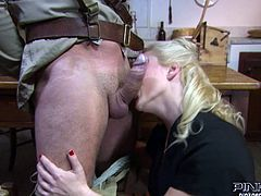 Buff soldier stops by one house to get fed. Saucy blonde MILF lets him eat her delicious sweaty pussy. Blondie in stockings gives blowjob and gets fucked missionary style right on the table.