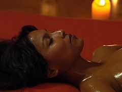 Sensual babe lies with closed eyes and gets her pussy finger fucked and oiled up. This exciting pussy massage sex video is everything your lust desires.
