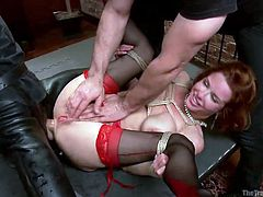 Who said slaves have an easy life? On the contrary, this bitchy slut has to endure humiliation while being sexually used in a cruel manner. However, the milf seems to enjoy and finds pleasure in pain while being fucked hard in her ass. Her legs are widely spread and held by a man who rubs her pussy. Click to see