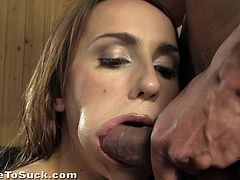 A fuckin' gorgeous bitch sucks on this dude's hard cock and fuckin' receives the creamy load in her fuckin' mouth, check it out!
