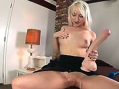 Young tempting and very horny blonde Ashley Jane with slim body and natural boobs takes off black outfit and stuff wet hairless fish lips with gigantic rubber dildo to orgasm.