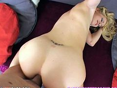 White blonde babe with super big round booty Anita Blue bends over displaying her whootie. Big dicked dude can't resist to properly fuck her tight pink asshole doggystyle.