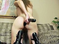 Cute and charming brown head takes out her sex toys