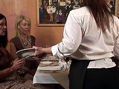 Horny ebony along steamy white mom are in for a nasty show by masturbating one another's cramped vags