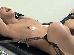 Chinese girl bond and fuckd by A bonking machine