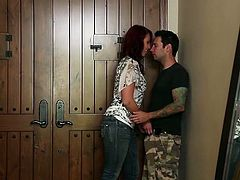 Hot and sexy red head Nicki Hunter asks her man to come over, takes off her clothes and kneels down to give him an amazing blowjob.