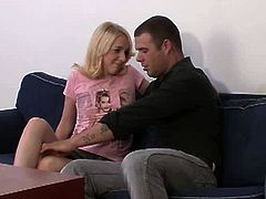This blonde teen is bored and needs sexual relief. Her old husband pays a guy to fuck her senseless while he watches. She blows the stranger and bends over to take his cock.