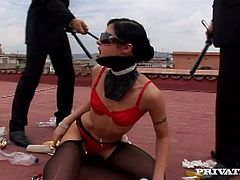 She is such a horny one and she is slaved today for some fetish games. Two dudes torture and fuck this bitch's hot twat and asshole!