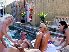 Emma Starr, Jessica Jaymes and NIkki Benz are two of the hottest chicks you will ever see. These cock crazed hotties with appetizing curves get together to fuck their cocky neighbor.