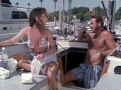Now look at this love story! Curly haired babe and her man seal away on the yacht and have so much fun out there. They are in fucking hay!
