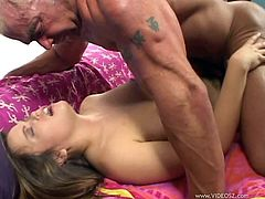 Watch the slutty Kaci Star sucking on this guy's thick cock veined cock in this hardcore scene before she's fucked silly.