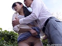 Take a look at this hot scene where the Asian hottie Miki Torii is forced to suck this guy's hard cock outdoors.
