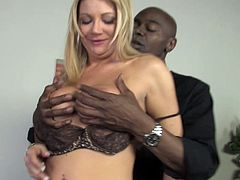A cute blonde get fucked in front of her brother. He pushes the bra grabs he spongy tits and fucks her deep. She enjoys a cum In mouth!