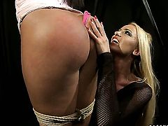 Blonde Katy Parker with giant knockers gets her love box touched hard by Cipriana