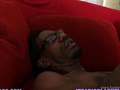 That popular four eyed freak from African is famous for his long penis. He makes every thirsting bitch happy. This raven haired lusty once with big sexy tits rides it hard in cowgirl pose. Look at this hot interracial fuck in My XXX Pass porn clip!