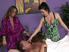 Lucky guy must feel amazing with such beauties to suck and fuck his eagerly dick during massage
