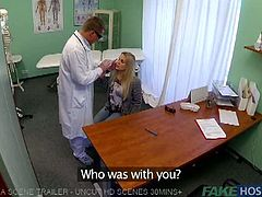 Horny blonde went to her doctor, but she didn't expected that she will receive a such hardcore banging. She takes it deep into her pussy and received a creampie.