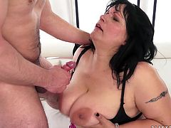A fuckin' slutty ass bitch sucks on a hard cock and fuckin' takes it balls deep into her fuckin' cunt, check it out right here!