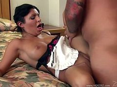 Sizzling brunette Sativa Rose wearing a maid uniform is having fun with some guy in a bedroom. They have oral sex and then fuck in cowgirl and missionary positions.