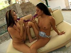 Check out this fuckin' awesome lesbian video with these two amazing hotties sharing a hard toy, it's fuckin' amazing! Check it out right here!