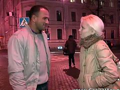 This horny dude seduced cute blone babe Sveta on the streets of Moscow. She didn't mind to got to his place and after a nice blowjob she is got her pussy rammed.