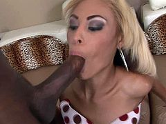 Pleasant black girl with small tits and cute face gets her tight kitty eaten by black stud. Petite bitch gives sloppy blowjob and rides that 10 inch tool in reverse cowgirl pose.
