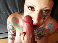 Tattooed slut looks appealing with a big dong devouring her cramped cunt in such rough porn adventure