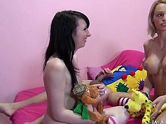 Blond haired bosomy whore blows that staff penis with passion. Her slutty brunette helpmate licks his smelly balls meanwhile. Have a look at that dirty 3 some in My XX Pass sex video!