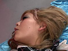 Hot blooded rapacious Asian babe rested missionary style in bed. One kinky man fingered her haired moist twat passionately. Meanwhile she performed hot deep throat to another thirsting guy. Look at this dirty MMF fuck in Jav HD sex clip!