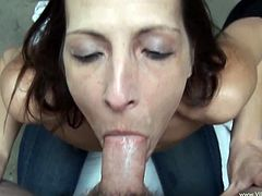 Marie is just the kind of office manager you want to work for. To motivate her employees she gets on her knees and sucks their cocks.