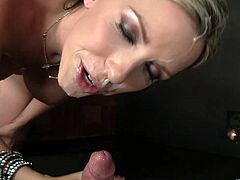 Take a look at this hot scene where the busty Courtney Cummz ends up with a messy facial after sucking on this guy's cock through a gloryhole.