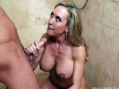 Effortlessly seductive mature woman Brandi Love always gets what she wants. Today, she wants to fuck her best friend's boyfriend. She seduces him in the shower. Horny dude is powerless to resist her. She gets down on her knees and gives him the best blowjob of his life.