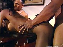 These two dudes are going to own this slutty ebony babe Midori! She gives a nice blowjob to both of them and then they fuck her so hard.